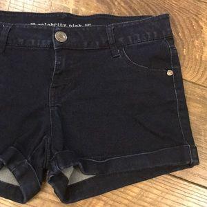 Cuffed Denim Stretch Shorts